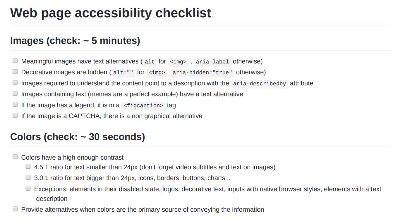 Checklist suivie pour faire l'état des lieux de la conformité de l'application
